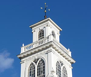 Close up view of Weymouth Town Hall tower