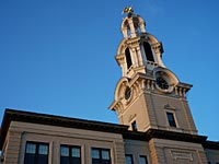 Close up view of Lawrence City Hall Clock Tower
